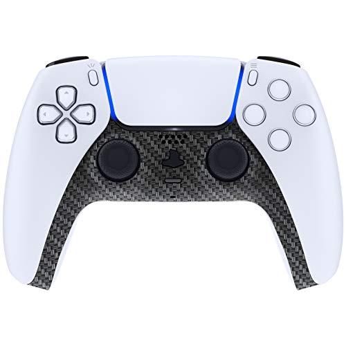 eXtremeRate Abdeckung für PS5 Controller, Hülle Case Schutzhülle Platten Ersatz Clip Shell Dekorative Abdeckung für DualSense Playstation 5 Controller mit Accent Rings(Soft Touch-Carbon Fiber)