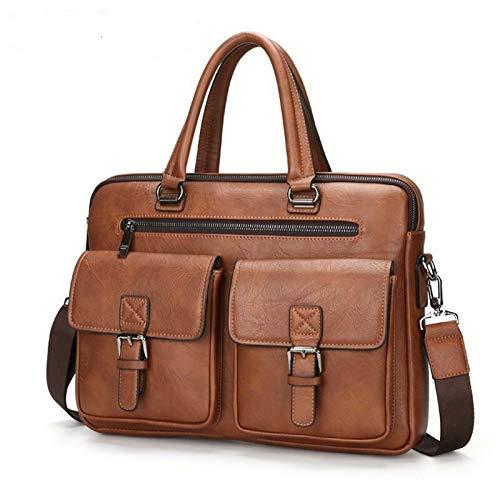 Yi-xir Bolso de piel para hombre, diseño de moda, con dos bolsillos, asa para portátil, ligero y duradero (color 8001B marrón, tamaño: A)