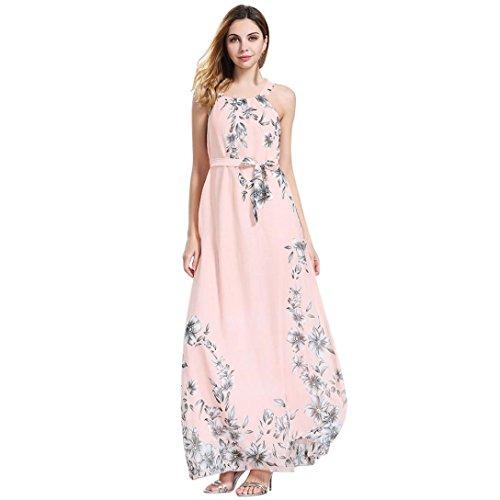 MRULIC Elegant Bedrucktes Abendkleid Damen Cool Sundress Schöne Chiffon Boho Kleid Damen Floral Sommer Lange Maxi Kleid Anti Sonnenschutz Kleid