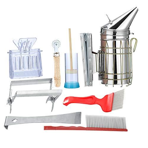 TAKE FANS 8-teiliges Bienenzuchtwerkzeug-Set für Bienenstöcke, Smoker, Bienenbürste, Käfig-Entdeckelung, Gabel, Imkerei für Imker