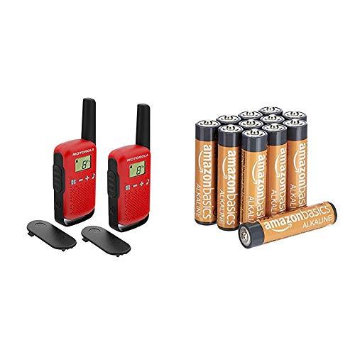 Motorola T42 Red - Walkie Talkie PMR446, 16 Canales, Alcance 4 km, Rojo, 2 Unidades + AmazonBasics - Pilas alcalinas AAA 'Performance' (Paquete de 12) - Diseño Variable