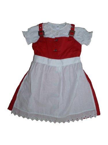 German Wear 3-TLG Kinder Dirndl Mädchendirndl Dirndlbluse dirndlschürze Kleid Rot/Weiss, Größe:104