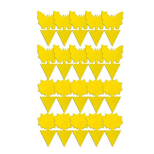 healthwen Juego de trampas para Insectos en Forma de Mariposa Tipo Flor Tipo pájaro exterminador Tablero Adhesivo Impermeable de Doble Cara Trampa de Tablero Amarillo