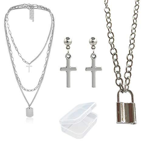 PPX 4 Stück Lock Anhänger Halskette Anweisung lange Kette Punk Multilayer Choker Halskette für Frauen Mädchen und Kreuz Ohrringe Set für Männer Frauen mit Aufbewahrungsbox