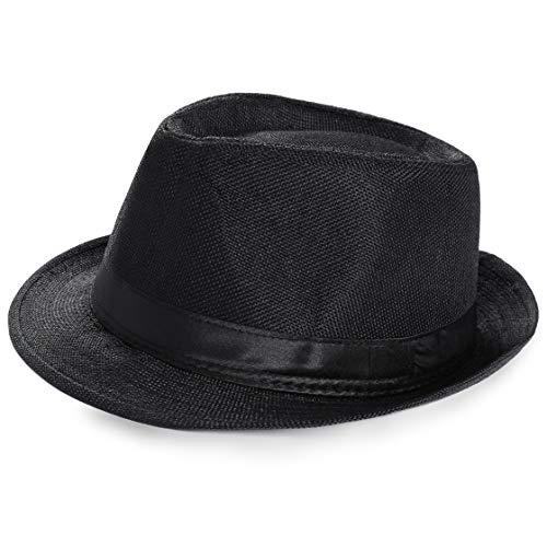 Coucoland Panama Hut Mafia Gangster Herren Fedora Trilby Bogart Hut Herren 1920s Gatsby Kostüm Accessoires (Schwarz)
