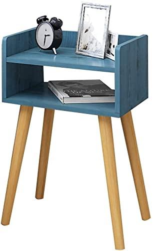llddrz Mesillas de Noche Dormitorio Note de Noche,finaliza con Compartimento de Almacenamiento Frontal Abierto,Aspecto de Madera,(Azul/Blanco/de Madera) 40x30x60cm (Color : Blue)