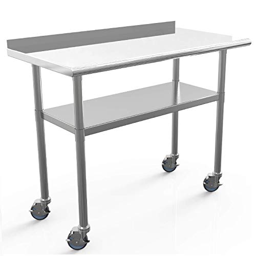 Commercial Work Table NSF Stainless Steel Table 48 x 24 Inches Heavy Duty Workbench Industrial Restaurant Food Work Tables for Shop Worktop with 1 1/2' Backsplash /4 Caster Wheels