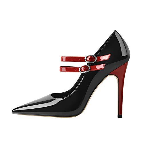 MissHeel Damen Spitze Absatzschuhe Schnalle Pumps Zweifarbig Rot & Schwarz EU 45