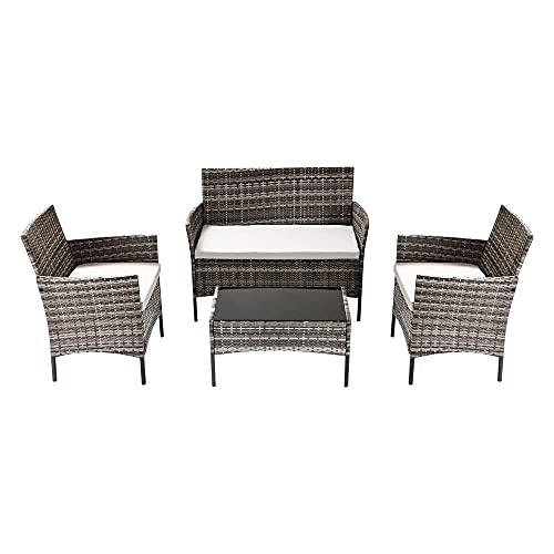Rattan Garden Furniture Set 4 piece, Garden Dining Furniture Sets, Corner Garden Furniture Includes 1 Double Seat Garden Sofa, 1 Table and Garden Chairs Set of 2 (Gray)