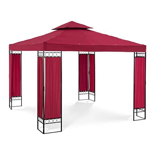 Uniprodo Uni_PERGOLA_3X3RF Gartenpavillon Pavillon Festzelt Partyzelt Stahl 3x3m Weinrot Verzierung 160 g/m² weinrot