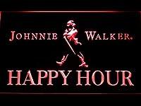 Johnnie Walker Happy Hour LED看板 ネオンサイン ライト 電飾 広告用標識 W60cm x H40cm レッド