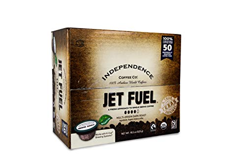Independence Coffee Co. Jet Fuel Intense and Heavy Body, Dark Roast Coffee Single Serve Indie Shot Pods, 50 Count