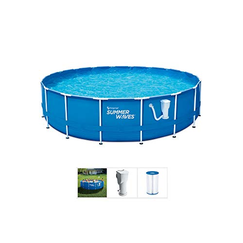 Summer Waves Active 10 Foot x 30 Inch Metal Frame Outdoor Backyard Above Ground Swimming Pool Set with Filter Pump, Type I Cartridge, and Repair Patch