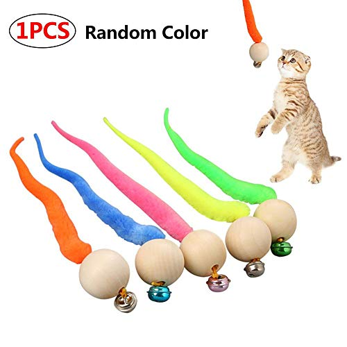 Dettelin Wiggly Ping Cat Toy, Cat Ball Toy Coloreado Cat Worms Ball con Bell, Peluche Cat Toy Kitten Activity Interactive Toy