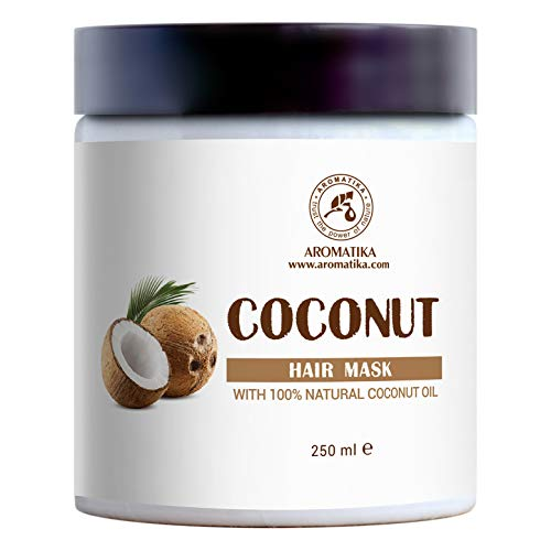 Máscara para Pelo con Aceite de Coco Natural Sin Sulfatos & Sin Parabenos (250ml) - Mascarilla para Crecimiento y Volumen del Cabello - Coconut Mask for Hair Care