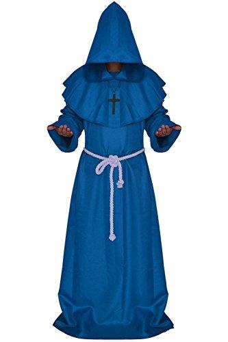 Qincos Traje Medieval Encapuchado Disfraz de Monje Medieval Sacerdote con Cruz para Halloween Carnaval (Talla S, Azul)