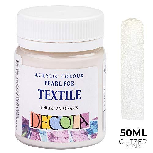 Nevskaya Palitra Textilfarbe Weiß Glitzer | 50 ml im Näpfchen | Stoffmalfarben waschfest| Qualität von Decolatra