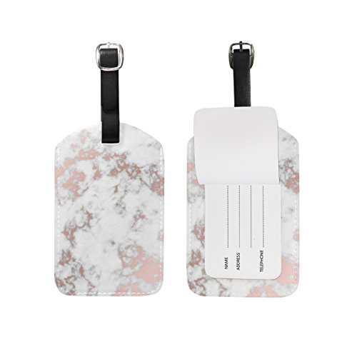 Cooper girl Rose Gold Marble Luggage Tag Travel ID Label Leather for Baggage Suitcase 1 Piece