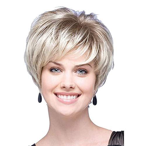 Charmante Echthaarperücken für Frauen, kurzes blondes Haar mit Wurzeln kurz geschnittenen Perücken, stilvoll, flauschig, keine Spitze, Ersatzperücke mit Pony, kurze Perücken,