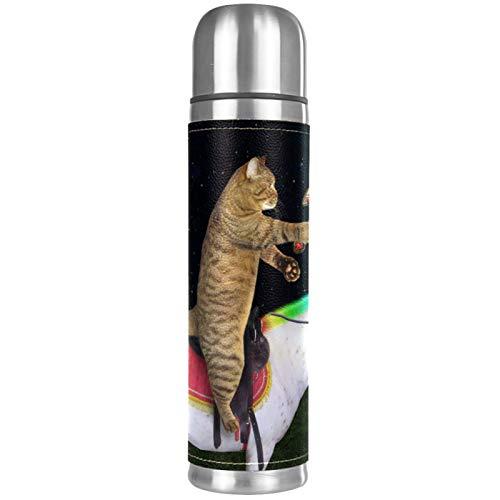 Lurnies Gato Unicornio Caballo Perro Botellas de Agua con Aislamiento al vacío Termo a Prueba de Fugas Bebidas Calientes inoxidables para Viajes de Negocios Escolares 500ml 26x6.7cm
