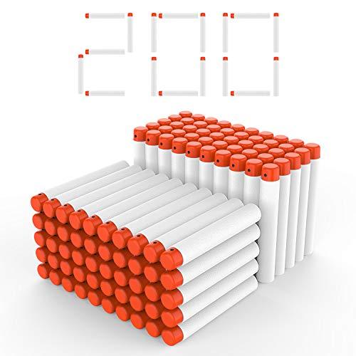 DEWEL 200pcs Darts Pfeile für Nerf Zubehör Foam Darts Pfeile 7,2cm Refill Bullets Pfeile Nachfüllpack Darts für N-Strike Elite Blasters Spielzeugpistole (Weiß)