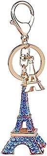 Jzone Lovely Eiffel Tower Bling Bling Crystals Rhinestone Women Handbag Purse Charm Pendant Key Chain Keyring Holder French Souvenirs Gift for Friends&Families (Blue)