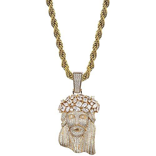 Kpcxdp Collar de los Hombres, con la Gran Cadena Colgante y Tenis de Jesús, Colgante de joyería de Hip Hop Dorada