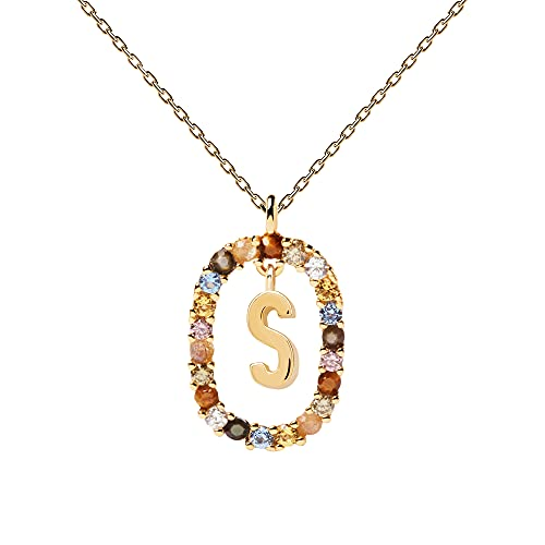PDPAOLA - Collar Letra S - Plata de Ley 925 Bañada en Oro de 18k - Joyas para Mujer