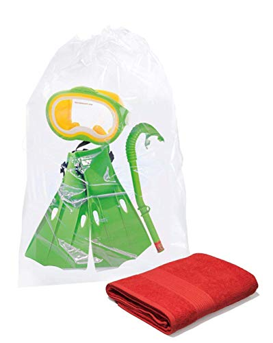 APQ Pack of 100 Large Clear Drawstring Bags 18 x 24. Clear Plastic Travel Bags for Packing and Storing 18x24. 2 mil. Travel Drawstring Bags for Industrial and Promotional use.