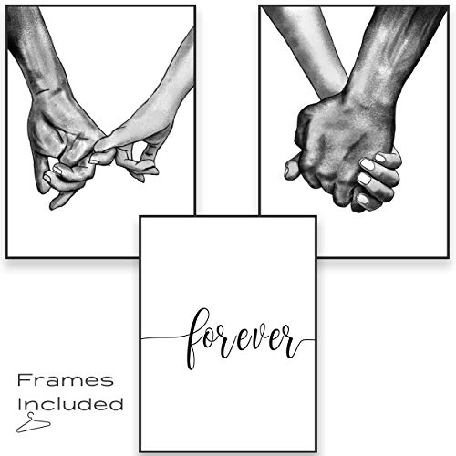 Framed Canvas Wall Art Hands Forever Ready To Hang Black & White Line Drawing Artwork for Living Room Bedroom Love Wall Pictures Prints for Couples Home Decor (12