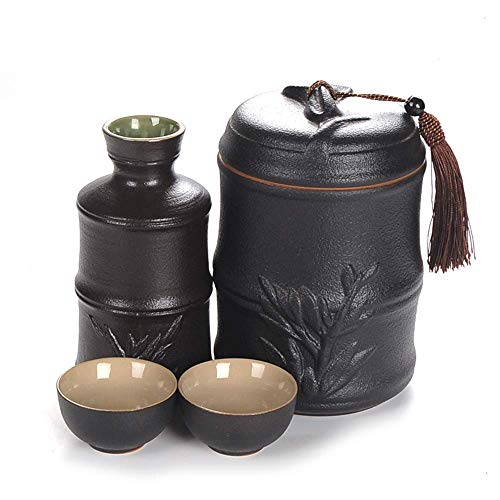 N&G Daily Equipment 4 Piece Sake Set 15 Oz Bamboo Modeling Design Wine Cup Set with Warming Pot Black Glazed Ceramic Cups For Cold/Warm/Shochu/Tea Best Gift For Family and Friends