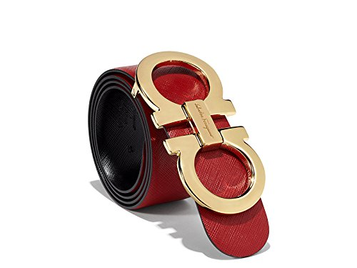 Salvatore Ferragamo Black/Red Reversible Big Gold Buckle Belt (110cm 38/40)