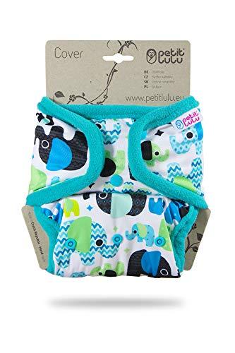 Cover Petit Lulu | Taglia unica | Bottoncini | Pannolini lavabili | | Pannolino di stoffa | Prodotto in Europa (Baby Elephant (blue))