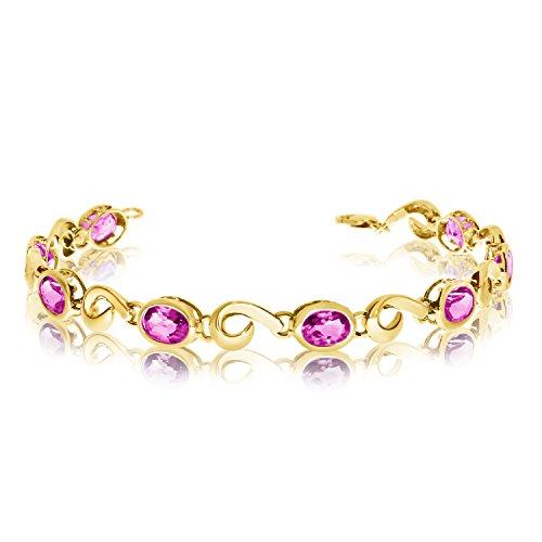 14 K oro amarillo Oval rosa pulsera de topacio