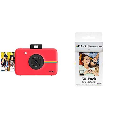 Polaroid Snap - Cámara Digital instantánea, tecnología de impresión Zink Zero Ink, 10 MP, Bluetooth, Micro SD, Fotos de 5 x 7.6 cm, Rojo + Premium Papel, a8, Blanco