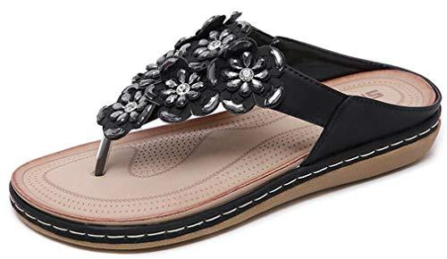 Hishoes Tongs Femme Strass Boheme Sandales en Cuir Mode...