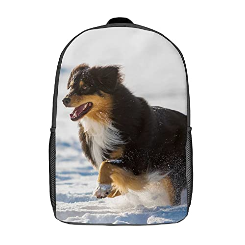 Qtchenglj 17 Inch Laptop Backpack,Picture of An Australian Shepherd Dog Running in The Snow,Business Travel Anti Theft Computer Daypack Slim Durable School Bag