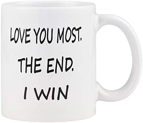 Coffee Mug Love you Most The End I Win Mug Cup Funny Novelty Coffee Cup Mug for Men Women Valentine product image