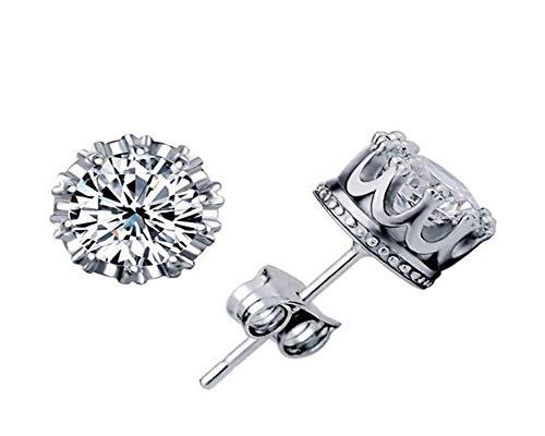 Corona tachuelas de diamantes adornos populares joyería Pendientes de circonio hembra de plata tachuelas