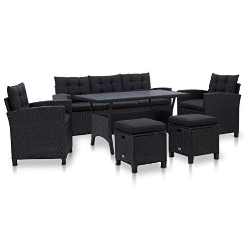 vidaXL Gartenmöbel 6-TLG. mit Auflagen Lounge Sofa Garten Garnitur Sitzgruppe Sitzgarnitur Gartenset Gartensofa Sessel Poly Rattan Schwarz