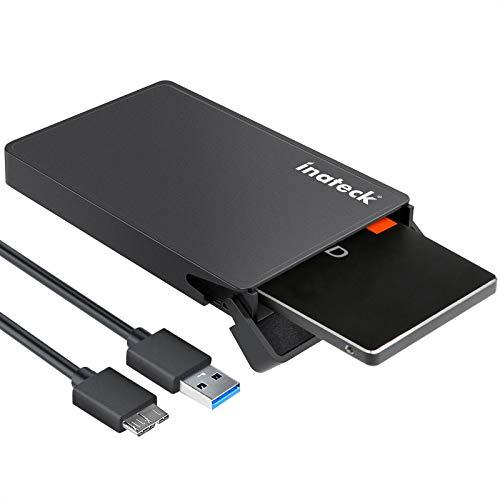 Inateck USB 3.0 Externes festplatten Gehäuse für 9.5mm 7mm 2.5 Zoll SATA-I, SATA-II, SATA-III, SATA SSD und HDD mit USB3.0 Kabel, Keine zusätzlichen Treiber benötigt, Werkzeuglose - Schwarz