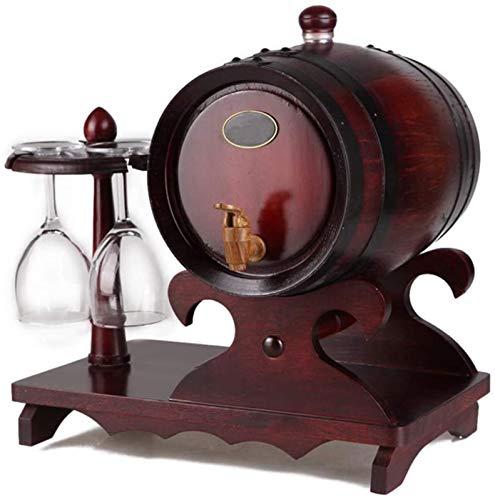 GJNVBDZSF Botti di invecchiamento Vintage in Rovere da 1,5 Litri con portabicchieri, Dispenser per Botti di Vino Secchio in Legno per Whisky Bourbon Tequila Aceto di Vino Birra, A