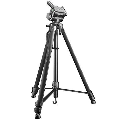 Walimex pro WT-3530 Basic Stativ 146cm schwarz – 3kg Traglast, leichtes und stabiles Foto Video Stativ mit 3-Wege Panorama Kopf ideal für Kamera und Handy Aufnahmen, inkl. Tasche und Smartphone Halter