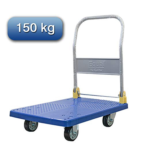 """EQUAL Portable Platform Trolley Dolly Cart For Lifting Heavy Weight, 150 Kg Capacity, Blue Color, 5"""" Wheel (48cm x 72cm)"""