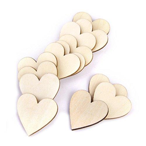 VORCOOL Cuori di legno, cuore di legno fette dischi per bricolage fai da te decorazioni - 50pcs (colore di legno)