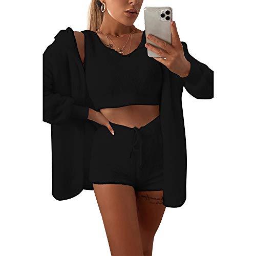 Damen-Fleece-Outfit, gemütlich, flauschig, Mantel, Jacke, Wollriemen, bauchfreies Top, Shorts, 3-teiliges Set Gr. L, Schwarz