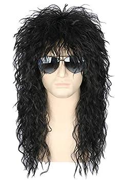Topcosplay Men's 80s Wig Black Mullet Wigs Halloween Costume Male Wig Punk Heavy Metal Rocker Wig Curly Long