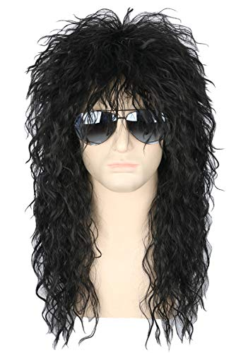 80s Wigs Halloween Costumes Male Wig Punk Heavy Metal Mullet Wig Black Curly Long