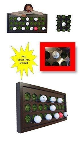 Golfball Setzkasten für 27 Golfbälle mit Kunstrasen spiegelpoliertes Edelstahl