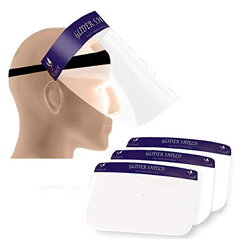 Glider Premium Protective Foamless Reusable Safety Face Shield, 90 Degree Movable, CE Certified, 300 Microns Visor with 2 sided Peel Off Layer pack of 3)
